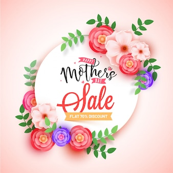Verkaufs-fahnendesign der mutter tagesmit schönen blumen und bis 70% weg von den angeboten.