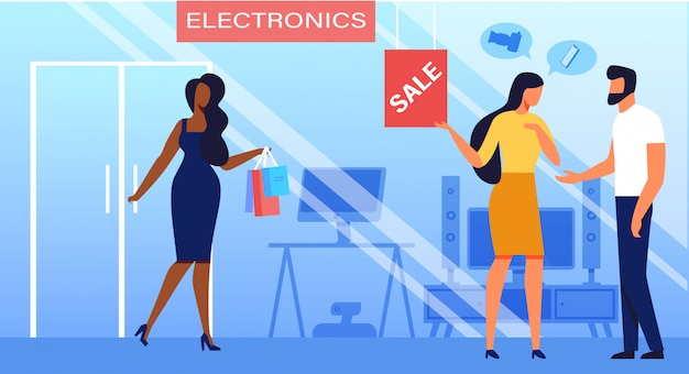 Verkaufs-flache vektor-illustration der elektronischen geräte