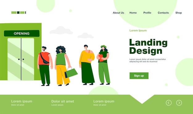 Verkaufs-landingpage im flachen stil