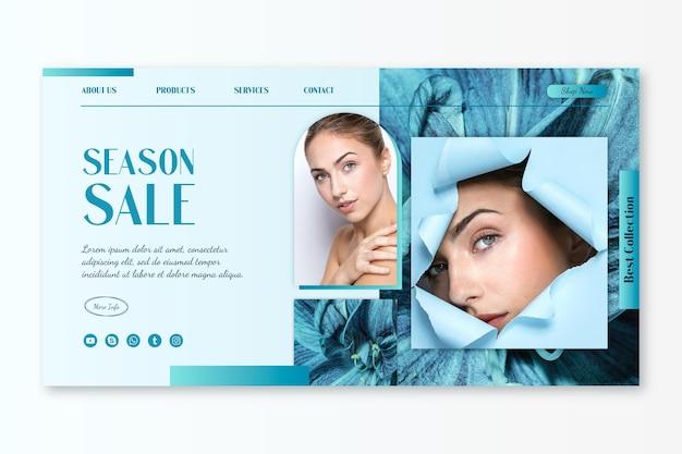 Verkaufs-landingpage mit farbverlauf mit foto