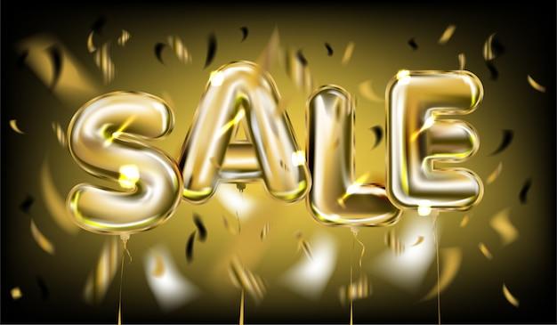Verkaufs-plakat durch goldene folienballons auf schwarzem