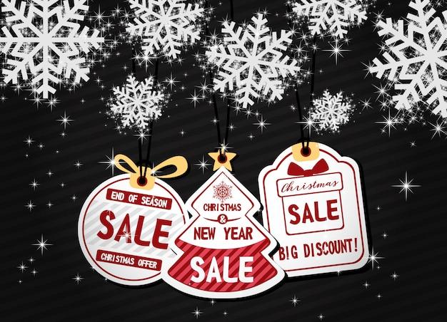 Verkaufs-rabatt promo der frohen weihnachten und des guten rutsch ins neue jahr mit schönem schneeflockenvektor.