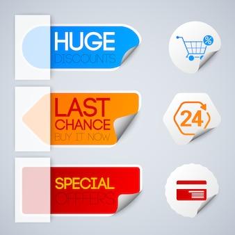 Verkaufs- und einzelhandelsetiketten, die mit speziellen rabattsymbolen papierart isolierte illustration gesetzt werden