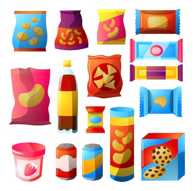 Verkaufs- und snackprodukte für die maschinenleiste des anbieters.