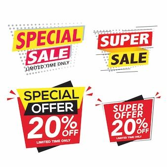 Verkaufs- und sonderangebot-bannerset