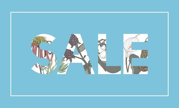 Verkaufs-wort-botanischer muster-hintergrund
