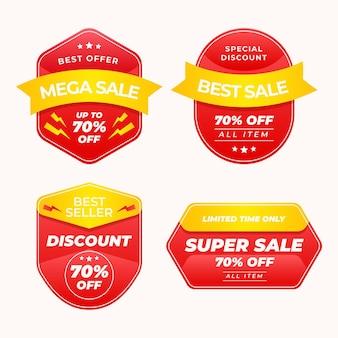 Verkaufsabzeichenset mit farbverlauf
