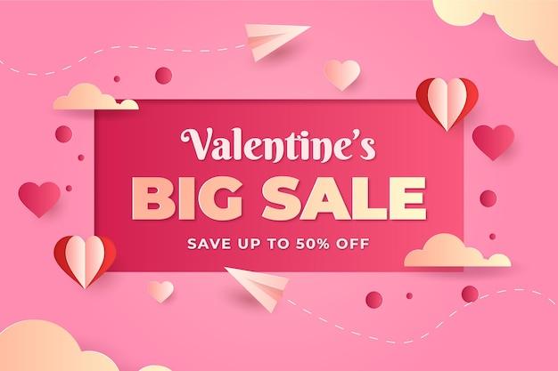 Verkaufsaktion zum valentinstag im papierstil mit sonderangebot