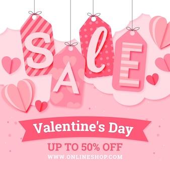Verkaufsaktion zum valentinstag im papierstil mit sonderrabatt Kostenlosen Vektoren