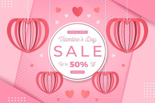 Verkaufsaktion zum valentinstag im papierstil