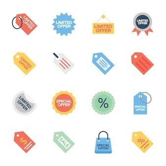 Verkaufsangebot etikettiert flache ikonen