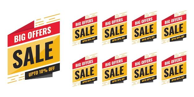 Verkaufsangebot rabatt tags oder etiketten design geeignet für die verwendung in web-banner social media und online-anzeigen