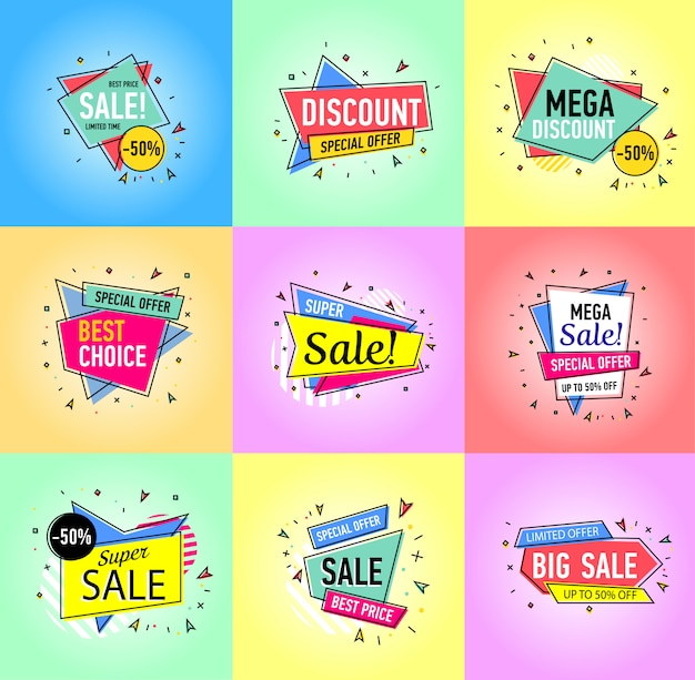 Verkaufsaufkleber lokalisiert auf weißem hintergrund