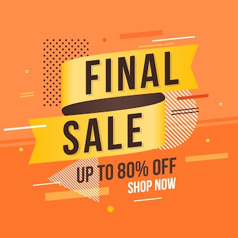 Verkaufsaufkleber mit orange abstraktem hintergrund