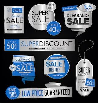 Verkaufsaufkleber und markensammlungsvektorillustration