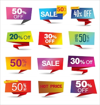 Verkaufsaufkleber und moderne regenbogensammlung der umbauten