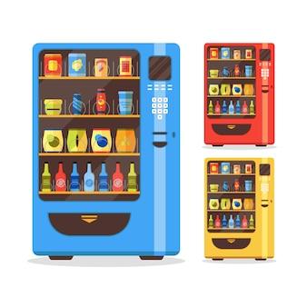 Verkaufsautomaten-set mit essen und trinken