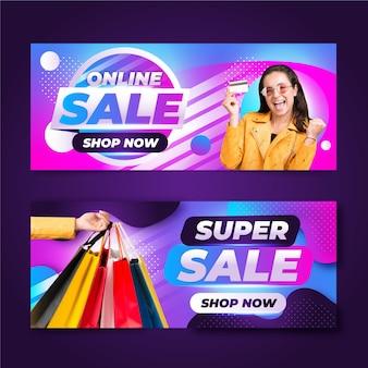Verkaufsbanner mit farbverlauf eingestellt mit foto