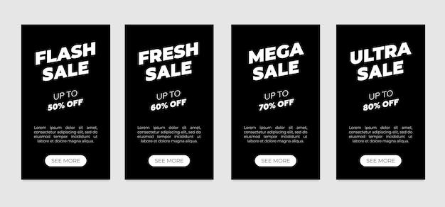 Verkaufsbanner-vorlagen-flyer auf schwarzem hintergrund flash-frisches mega-ultra-rabatt-einzelhandelsangebotsplakat