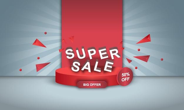 Verkaufsbannerhintergrund mit rotem podium auf hellblauem hintergrund vektorillustration