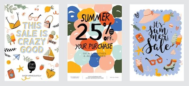 Verkaufsdruck mit schönem sommerhintergrund und trendigem schriftzug.