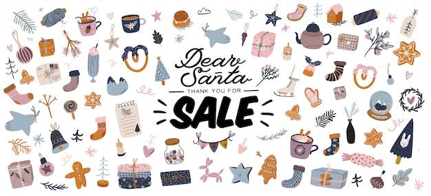 Verkaufsdruck mit schönem winterhintergrund, weihnachtselementen und trendigem schriftzug.