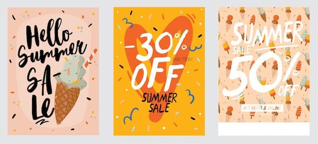 Verkaufsdruck mit sommerelementen und trendigem schriftzug