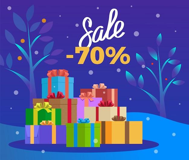 Verkaufsfahne am winterurlaub, weihnachtsförderung