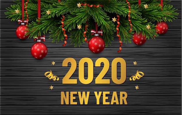 Verkaufsfahne der frohen weihnachten und des guten rutsch ins neue jahr. weihnachtsbaumgrenze mit goldenen dekorationen auf schwarzem hölzernem hintergrund. geschäftsflieger