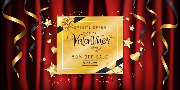 Verkaufsfahne des valentinstags, kalligraphie auf goldgeschenkbox mit band