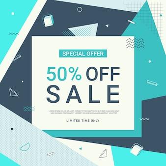 Verkaufsfahne im blauen ton mit geometrischen formen