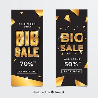 Verkaufsfahne im goldenen stil