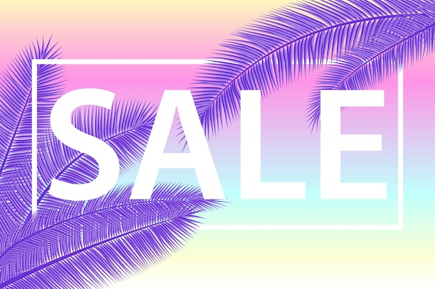 Verkaufsfahne mit palmblättern. blumiger tropischer ultravioletter hintergrund. illustration. heiße sommerverkäufe. eps 10.