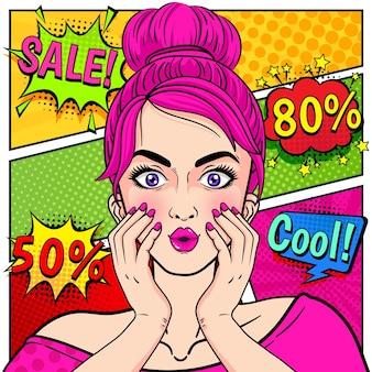 Verkaufsfahne mit überraschter frau mit rosa haaren
