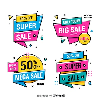 Verkaufsfahnen im memphis-stil