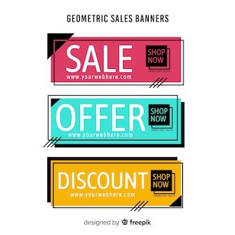 Verkaufsfahnen-pack mit geometrischen formen