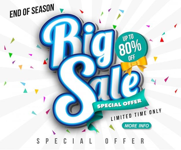 Verkaufsfahnen-schablonendesign, großer verkaufsspecial bis zu 80% weg. super sale, ende der saison sonderangebot banner.