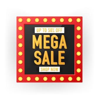 Verkaufsfahnen-schablonendesign, sonderangebot des großen verkaufs. verkaufsfahnen-schablonendesign, megaverkaufs-sonderangebot.