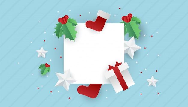 Verkaufsfahnenhintergrund für einkaufsverkauf des neuen jahres. glückliches neues weißes leeres papier mit weihnachtselementen.