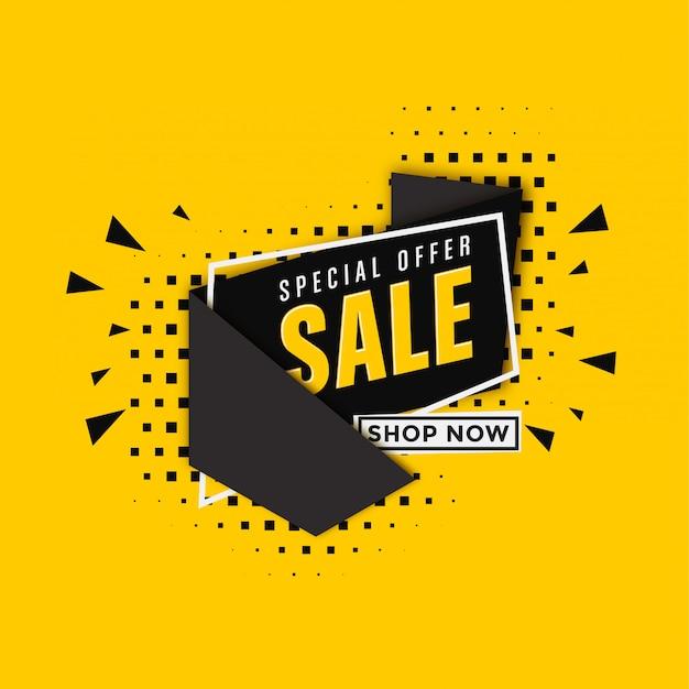 Verkaufsfahnenschablone auf gelbem hintergrund