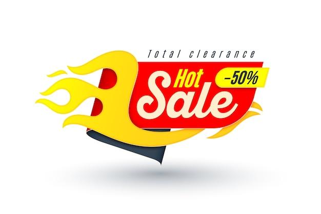 Verkaufsfahnenschablone mit flamme