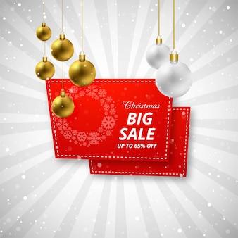 Verkaufshintergrund der frohen weihnachten mit weihnachtsball-designvektor