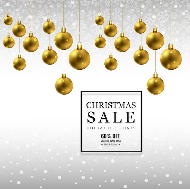 Verkaufshintergrund der frohen weihnachten mit weihnachtsball-hintergrundvektor