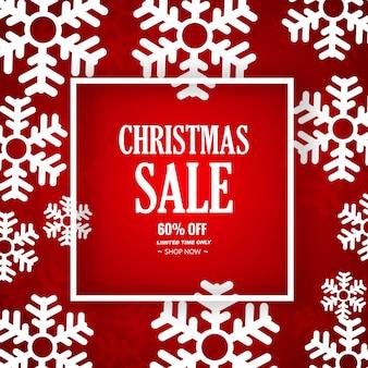 Verkaufshintergrund der schneeflocke dekorativer froher weihnachten