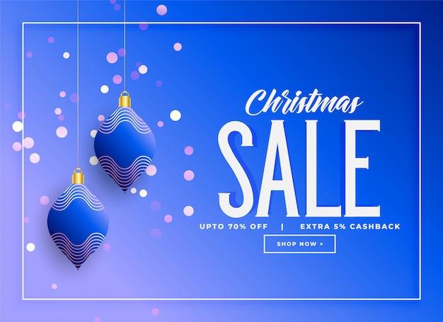 Verkaufshintergrund der stilvollen weihnachtshängenden kugeln