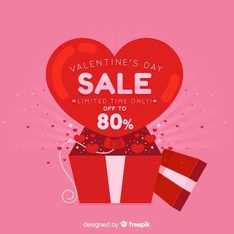 Verkaufshintergrund des offenen kastens valentinstag