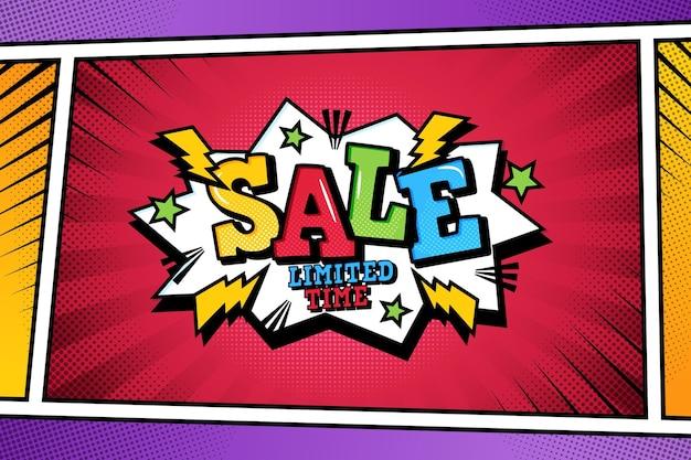 Verkaufshintergrund im comic-papierstil