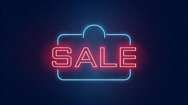 Verkaufshintergrund in den neonlichtern