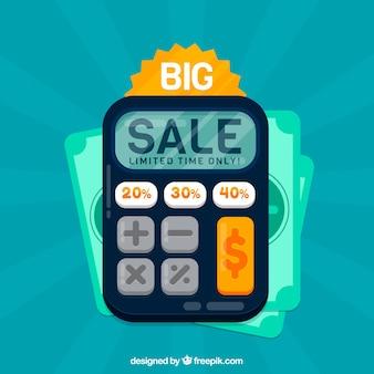 Verkaufshintergrunddesign mit taschenrechner