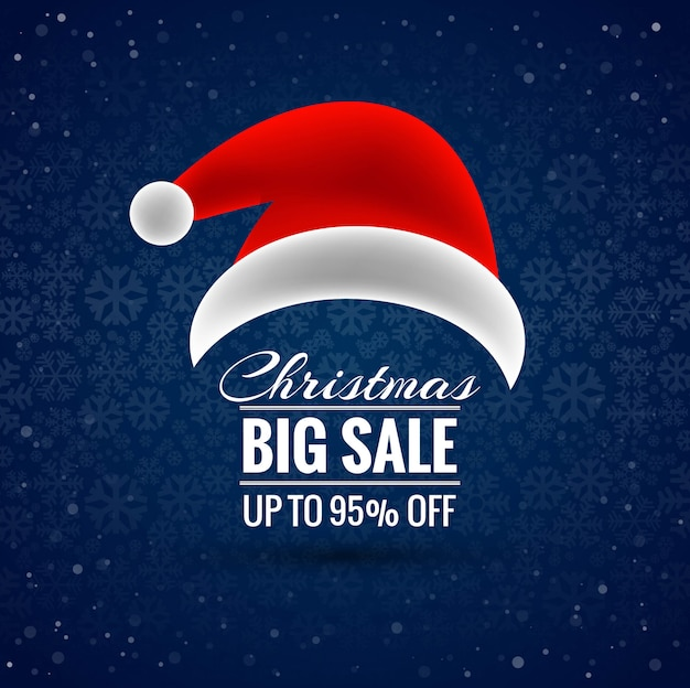 Verkaufshintergrundvektor der frohen weihnachten sankt-hutes großer
